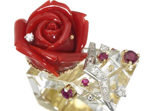 珊瑚 薔薇 ダイヤモンド K18 リング 130,000円