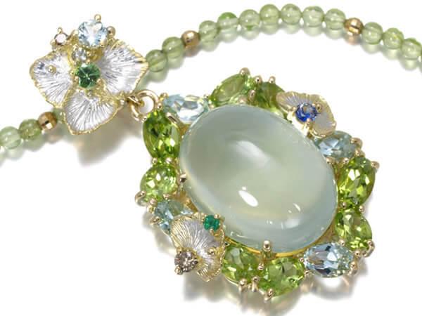 プレーナイト ペリドット アクアマリン ダイヤ サファイア エメラルド K18 60,000円