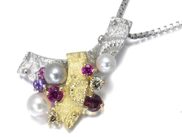ダイヤモンド パール ルビー サファイア トルマリン ネックレス K18/Pt900 33,000円