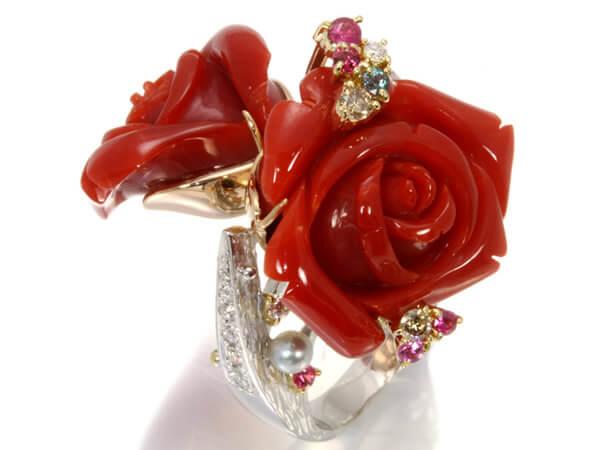 赤珊瑚 ダイヤ0.42ct ルビー サファイア 高級リング K18 23g 130,000円