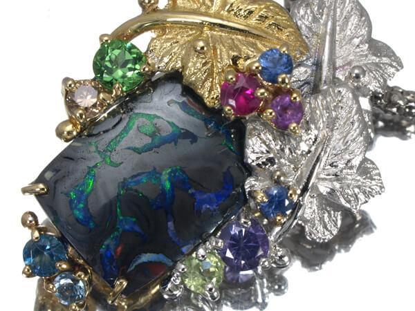 アイアンオパール マルチ石 ネックレス K18 11g 70,000円