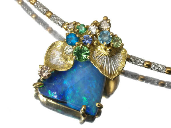 オパール マルチ宝石 ネックレス K18 9.7g 45,000円