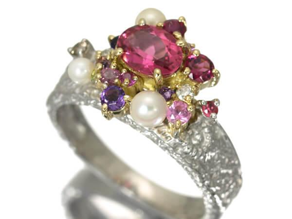 トルマリン ダイヤ マルチ宝石 リング K18 7.3g 40,000円