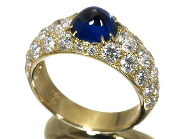 ギメル サファイヤ1.638カラット ダイヤモンド2.239カラット K18 リング 500,000円
