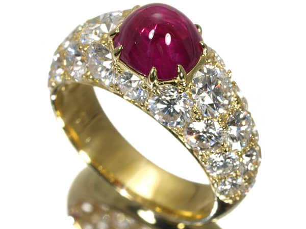 ギメル ルビー2.305カラット ダイヤモンド3.564カラット K18 リング 700,000円