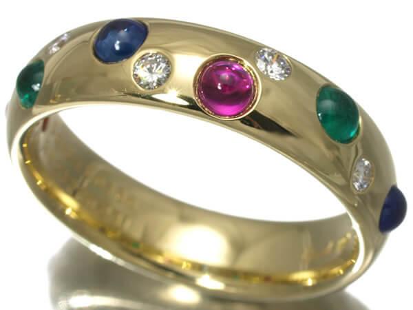 ギメル ルビー サファイヤ エメラルド ダイヤモンド K18 リング 130,000円