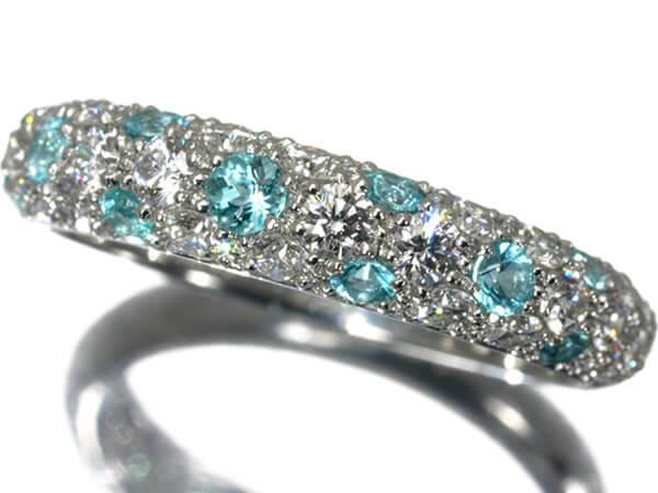 ギメル パヴェダイヤモンド0.719カラット トルマリン0.291カラット プラチナ950 リング 220,000円