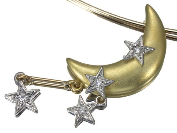アズタイム 月 星 ダイヤモンド K18 ネックレス 53,000円