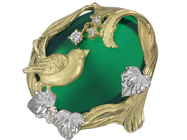 アズタイム 鳥 メノウ ダイヤモンド K18 プラチナ リング 58,000円