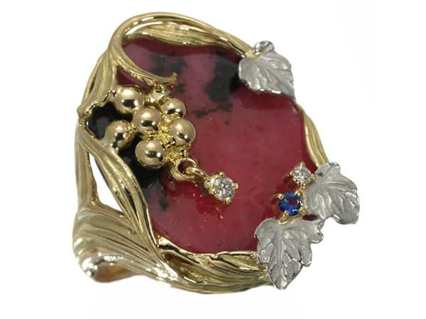 葡萄 ロードナイト ダイヤモンド サファイア リング K18YG/Pt900 40,000円