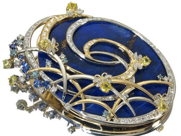 ラピスラズリ ダイヤモンド ブローチ 58g 220,000円