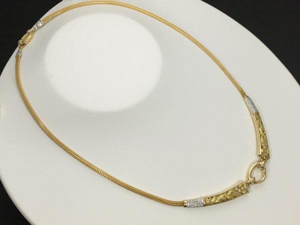 ダイヤモンド 花彫金 ネックレス PT/K18 16g 140,000円