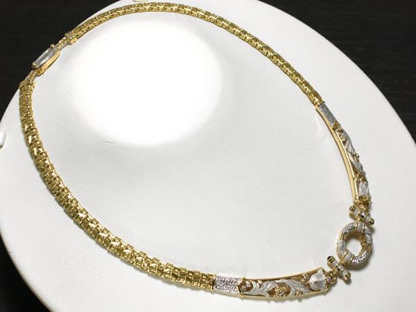 ダイヤモンド 花彫金 ネックレス PT/K18 53g 230,000円