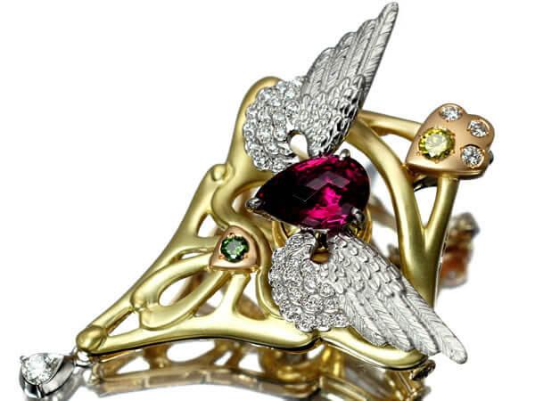 トルマリン ダイヤモンド ブローチ 23g 100,000円