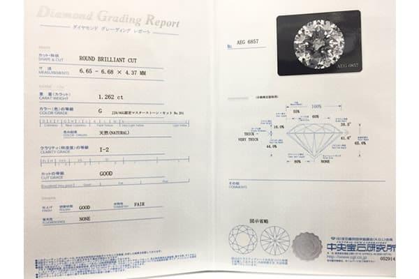 DIAMOND GRADING REPORT(ダイヤモンドグレーディングレポート)