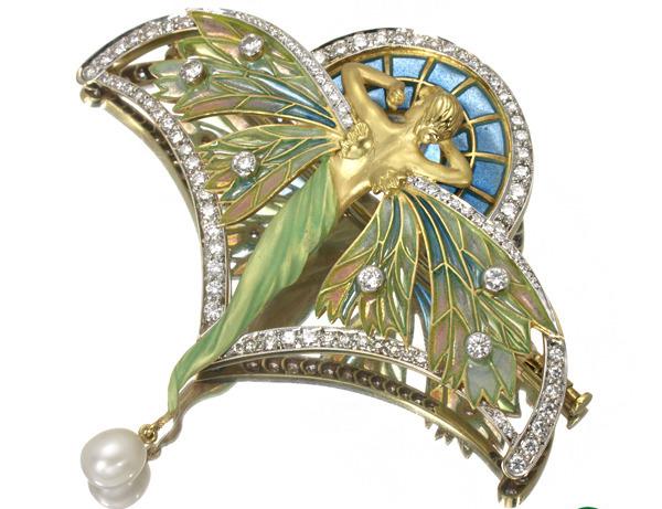 マリエラ-ブローチ-ダイヤ-パール-七色の羽の女性像-七宝 K18YG